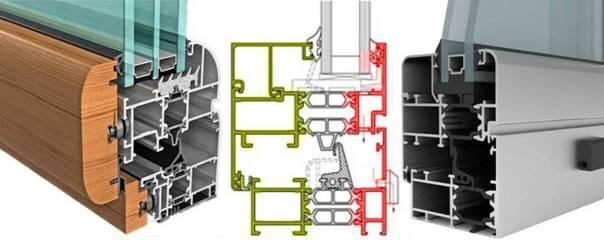Figura - Spaccati di serramenti in alluminio (o legno-alluminio) a taglio termico con evidenziata la separazione tra la porzione di telaio a contatto con l'ambiente esterno da quello interno.